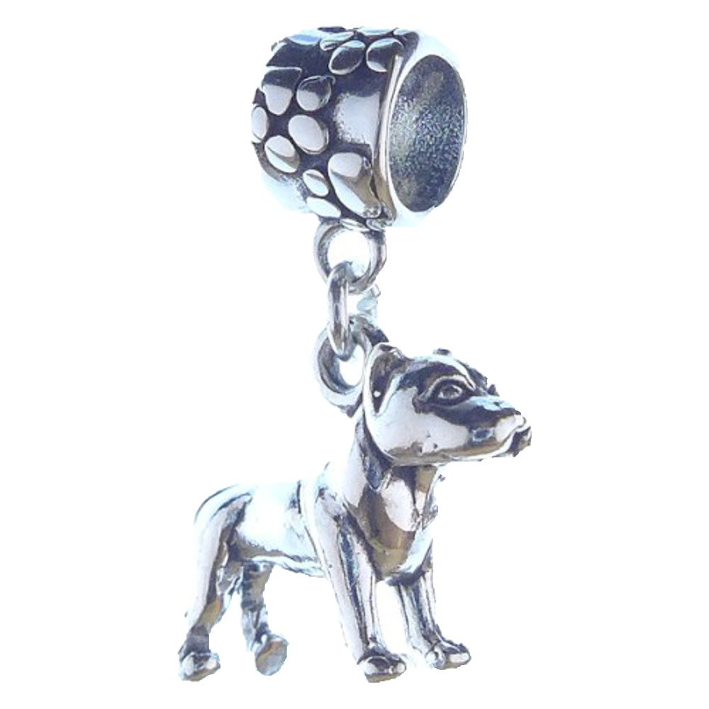 Pitbull Sterling Silver Dangle Dog Charms