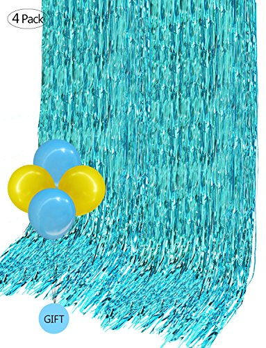 (Foil Curtains Metallic Fringe Curtain Backdrop (4 Pack,12 x 10 ft) for Room Divider Wedding Birthday Party Christmas Decoration Drapery with 4 Free Balloons(Turquoise Color))
