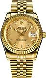 Men's Gold Stainless Steel Calendar Diamond Luminous Water Resistant Automatic Wrist Watches