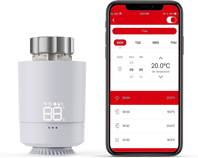 Termostato Inteligente para Radiador, Meterk Controlador de Temperatura del Termostato Calefacción, Modelo SEA802DF, Ajustable de 5 ℃ ~ 30 ℃, Tamaño de Interfaz deVálvula M30x1.5mm