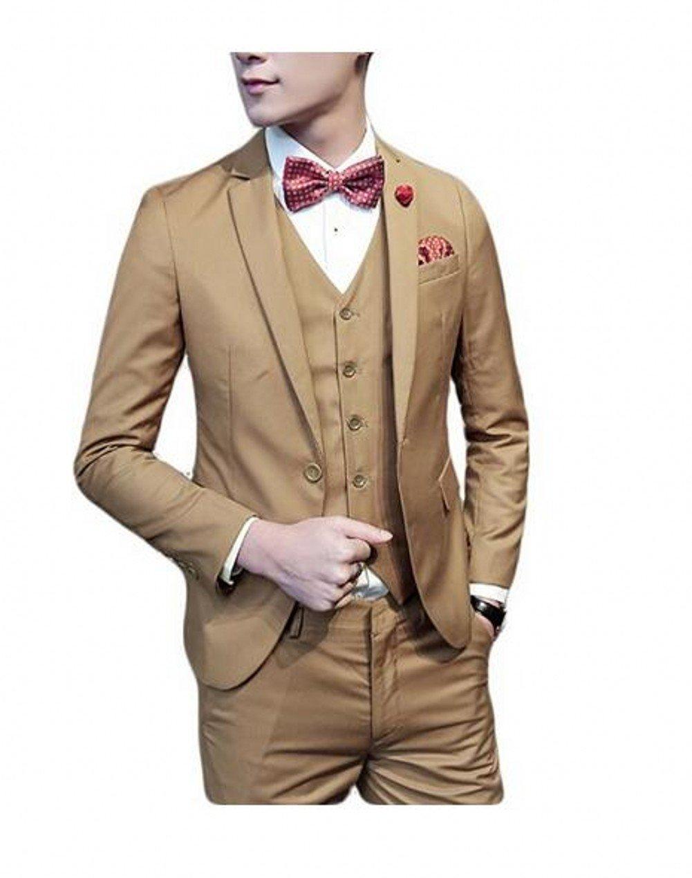 Love Dress Slim Fit Three Piece Men's Suit with Vest Wedding Prom Party Khaki M