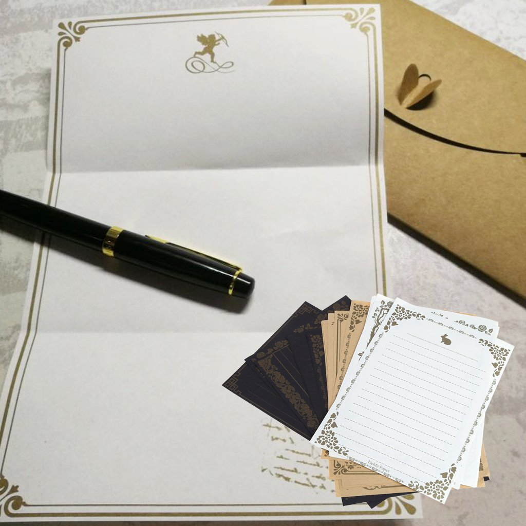 Beige ZOOMY 8 Feuilles Vintage Design r/étro /écriture Papeterie Papier Note Note Letter Set