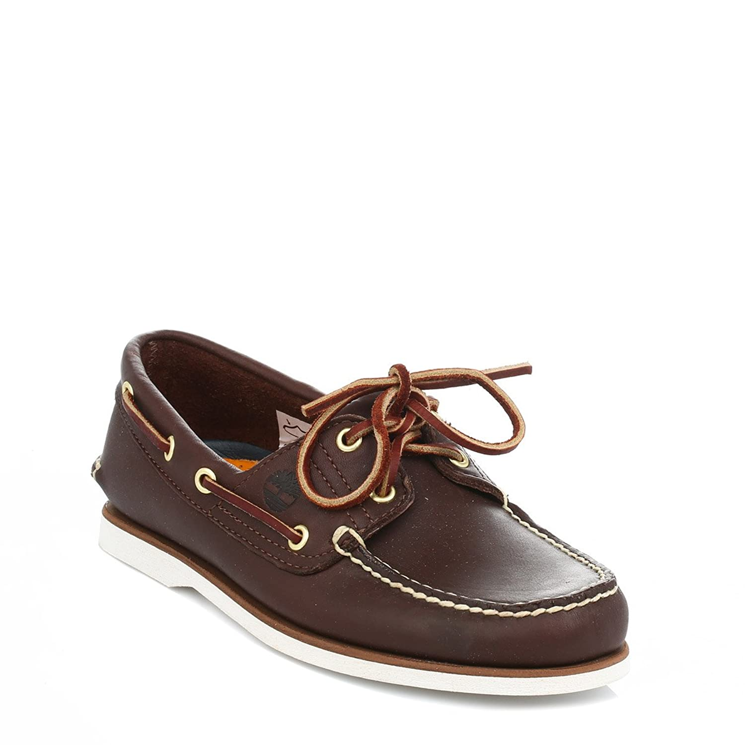 MENS TIMBERLAND CLASSIC BROWN LEATHER 2 EYE BOAT SHOES UK