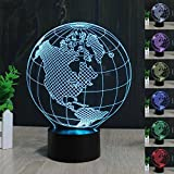 3D Earth America Globe Night Light 7 Color Change LED Table Desk Lamp Acrylic Flat ABS Base USB Charger Home Decoration Toy Brithday Xmas Kid Children Gift