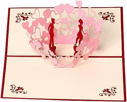 Tarjetas de felicitación 3D con forma de corazón para parejas ...