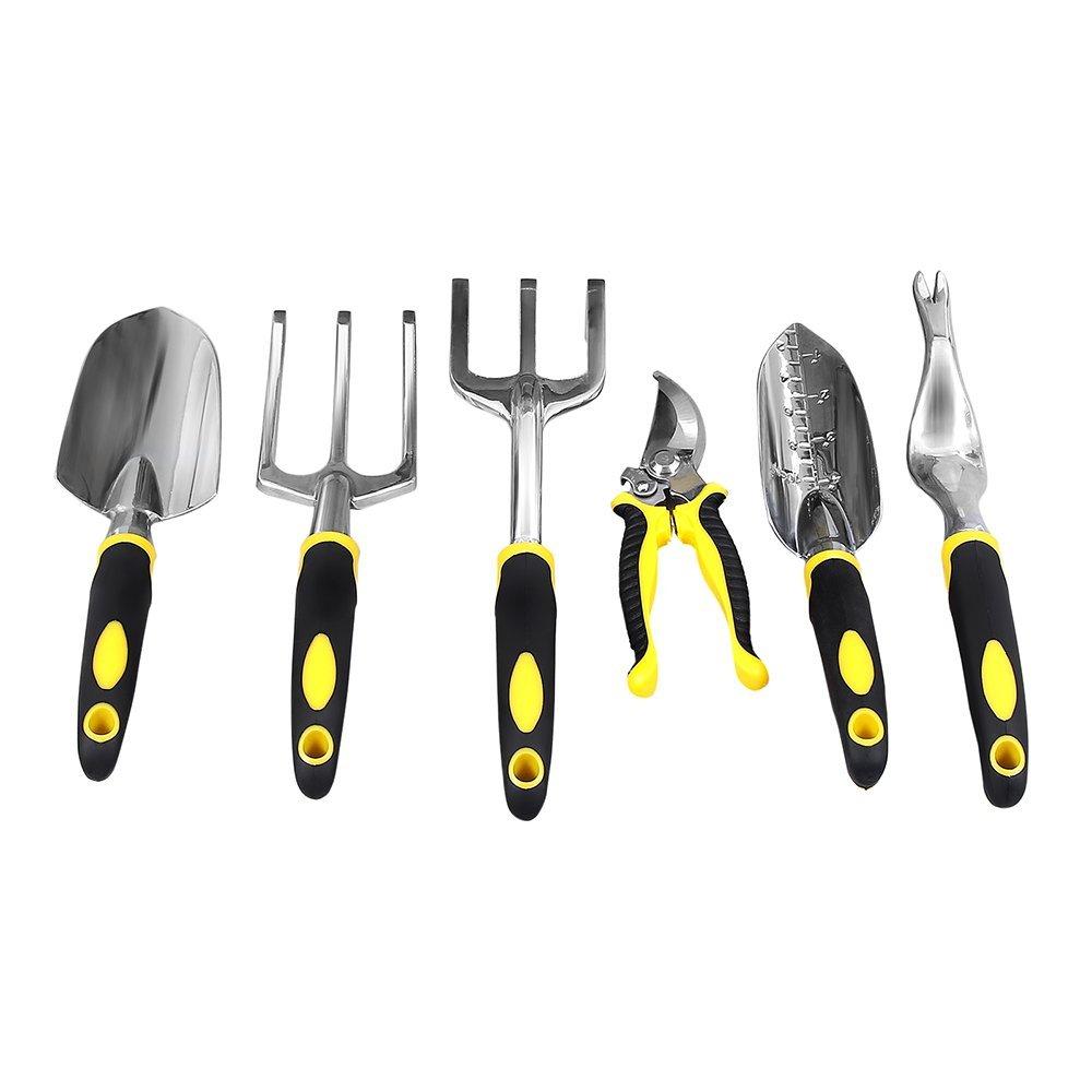 SONGMICS Garden Tool Set 6-Piece Garden Kit with Heavy Duty Cast-Aluminum Heads & Ergonomic Handles UGGT600 by SONGMICS