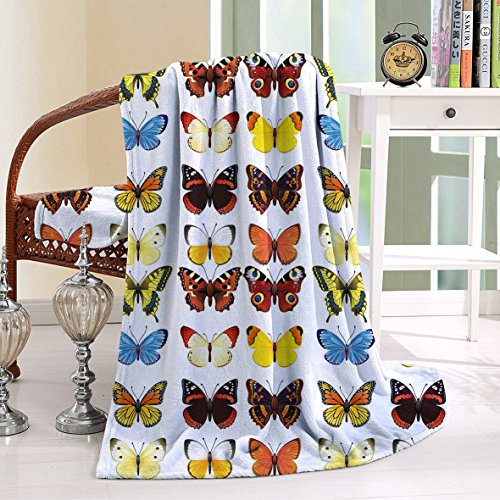 HAIXIA Throw Blanket Butterfly A Collection of Detailed Butterflies in Various Shapes Vibrant Colored Creatures Multicolor