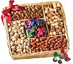 Broadway Basketeers Gourmet Sweet and Savory Nut Gift Basket for Your Valentine from Broadway Basketeers