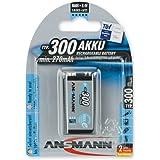 ANSMANN Pack de 1 Pile rechargeable NiMH maxE batterie carrée 9V (E) Type 300 (min. 270mAh) Faible Décharge PP3 6F22