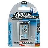 ANSMANN 9V Block Rechargeable Battery - 300mAh NiMH Low Self Discharge MaxE Technology