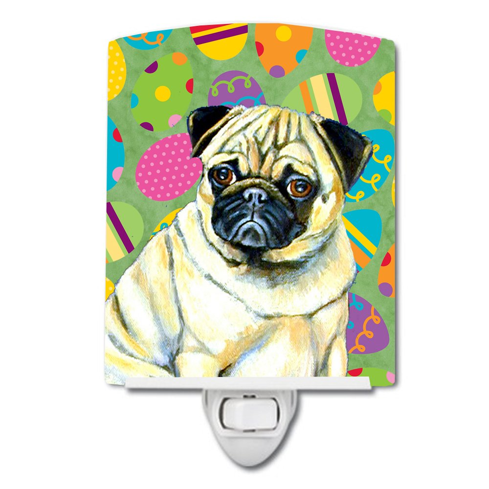 Caroline's Treasures Pug Easter Eggtravaganza Night Light, 6'' x 4'', Multicolor
