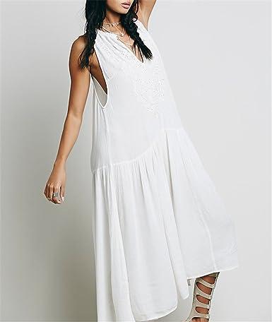 Amazon.com: DaveDu NEW verão bordado do vintage maxi vestido branco Flor plissada vestido de verão férias vestido longo branco elegante vestido solto ...