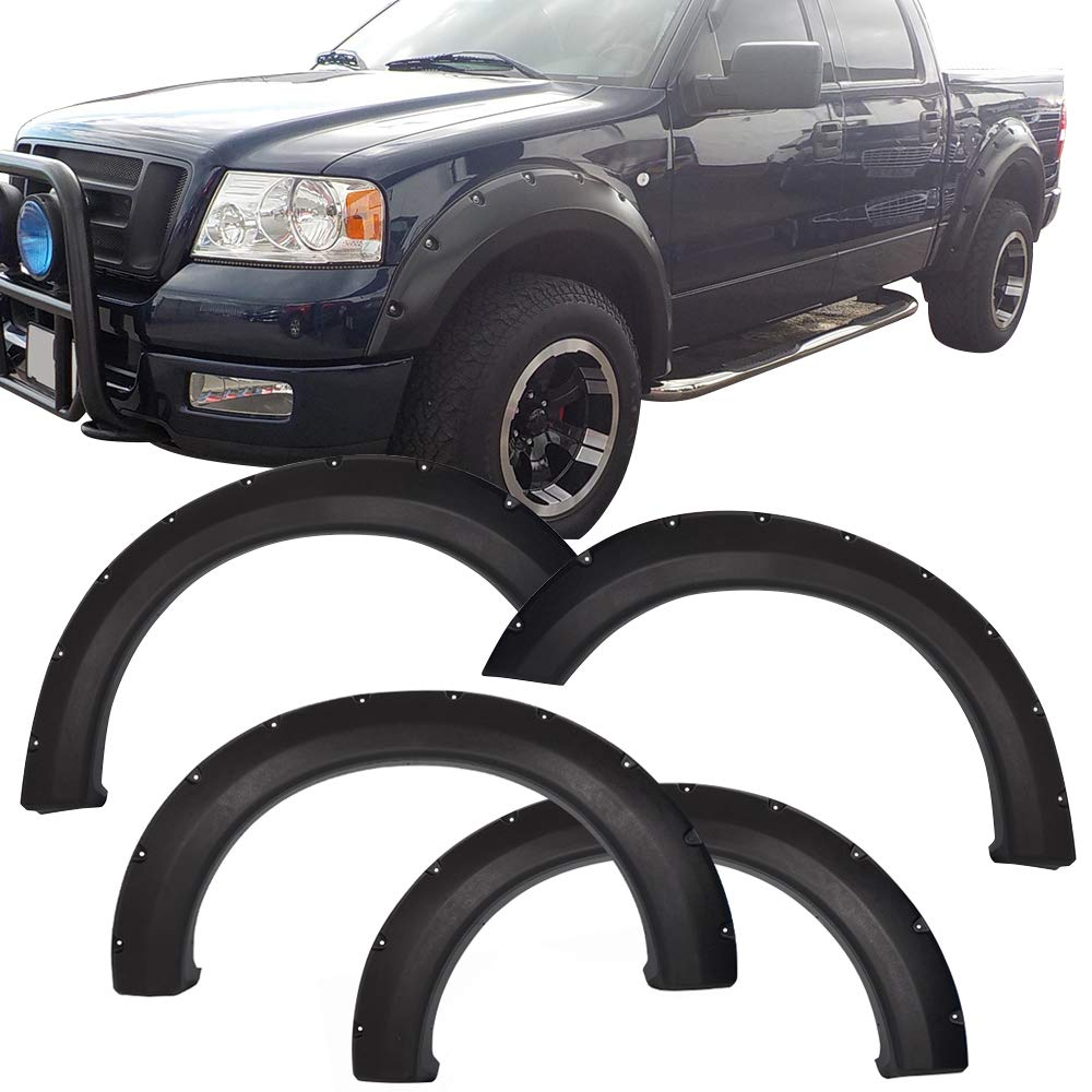 Fender Flares Fits 2004-2008 Ford F150 | Pocket Rivet Style Black PP Textured Front Rear Right Left Wheel Cover Protector Vent Trim by IKON MOTORSPORTS | 2005 2006 2007