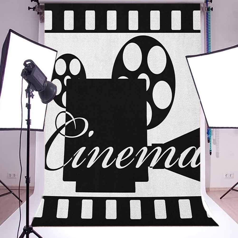 7x10 FT Movie Theater Vinyl Photography Backdrop,Monochrome Cinema Projector Inside a Strip Frame Abstract Geometric Pattern Background for Baby Shower Bridal Wedding Studio Photography Pictures