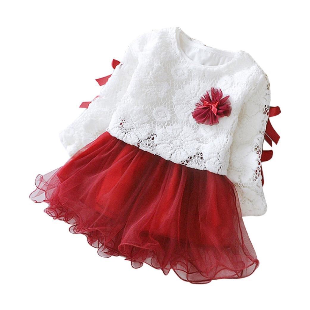 WARMSHOP Infant Baby Kids Autumn Winter Princess Dress Long Sleeve Lace 1PC Dress+1PC Tops