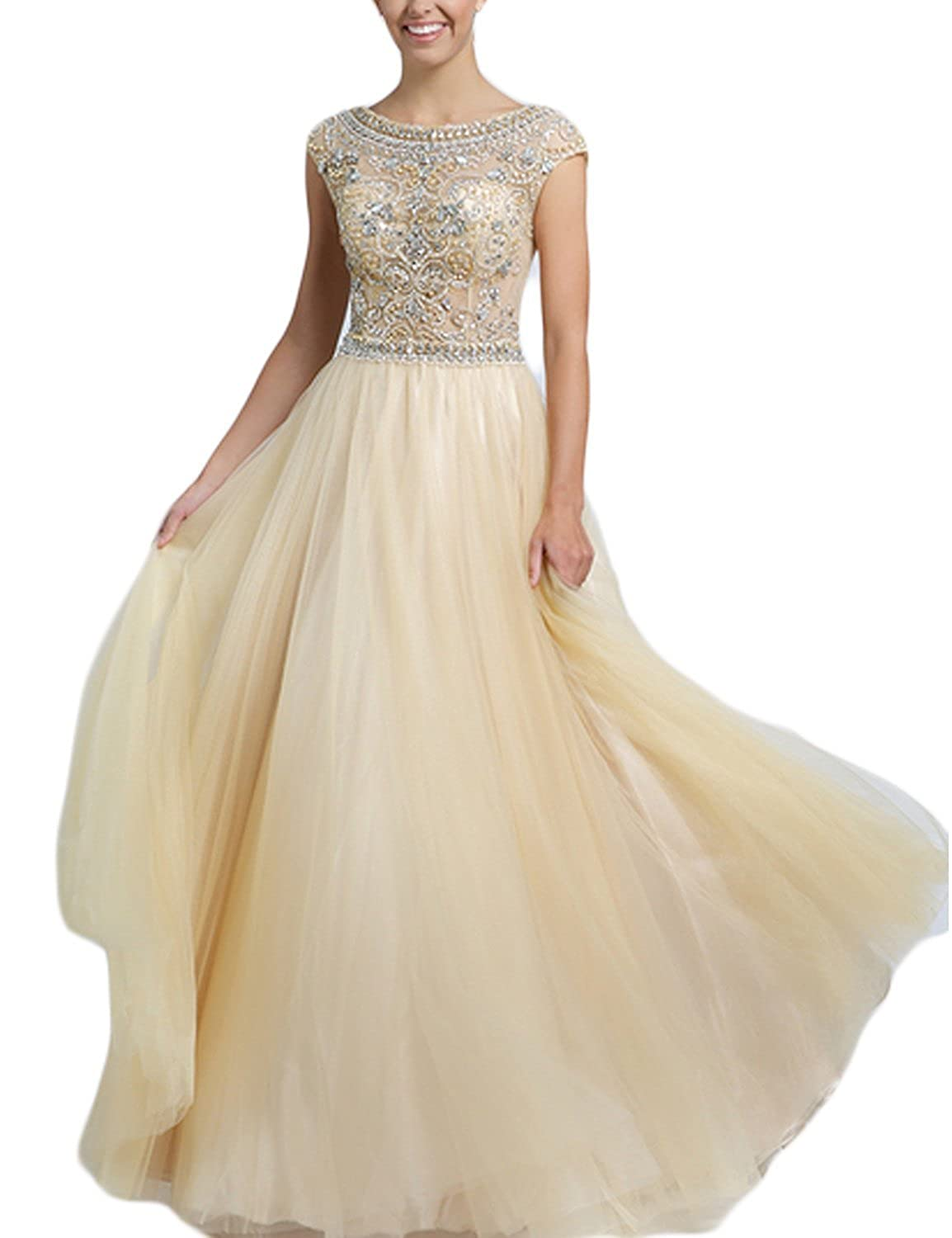 Fanciest Women's Cap Sleeve Beaded Long Evening Dresses Formal Prom Gowns Champagne