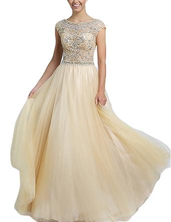 4221cf405089 BessDress Long Beaded A Line Prom Dresses Gorgeous Cap Sleeves Formal  Evening Gowns BD088