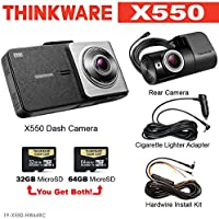 Thinkware X550 Dash Cam w/32gb & 64gb SD Card 1080P Rear Cam & Hardwire Power Harness. Ultra Night Vision. Built in Display. Cigarette Lighter