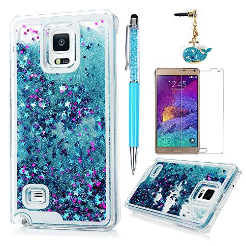 Note 4 Case,Galaxy Note 4 Case - Flowing Liquid Floating Bling Glitter Sparkle Stars Hard PC Cover Cute Creative Design Lightweight Ultra Slim-Fit Protective Cover by Badalink - Blue