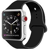ZRO para Apple Watch Correa, Silicona Suave Reemplazo Sport Banda para 42mm iWatch Serie 3/ Serie 2/ Serie 1, Talla M/L, Negro