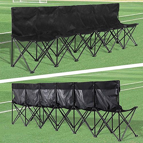Yaheetech Portable 6 Seats Sport Sideline Folding Bench with Carry Bag, 600D Oxford Double Layer Fabric, Black