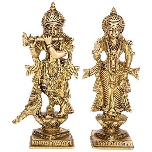 Kapasi Handicrafts Set Of Shri Radha Krishna Standing Brass Statue