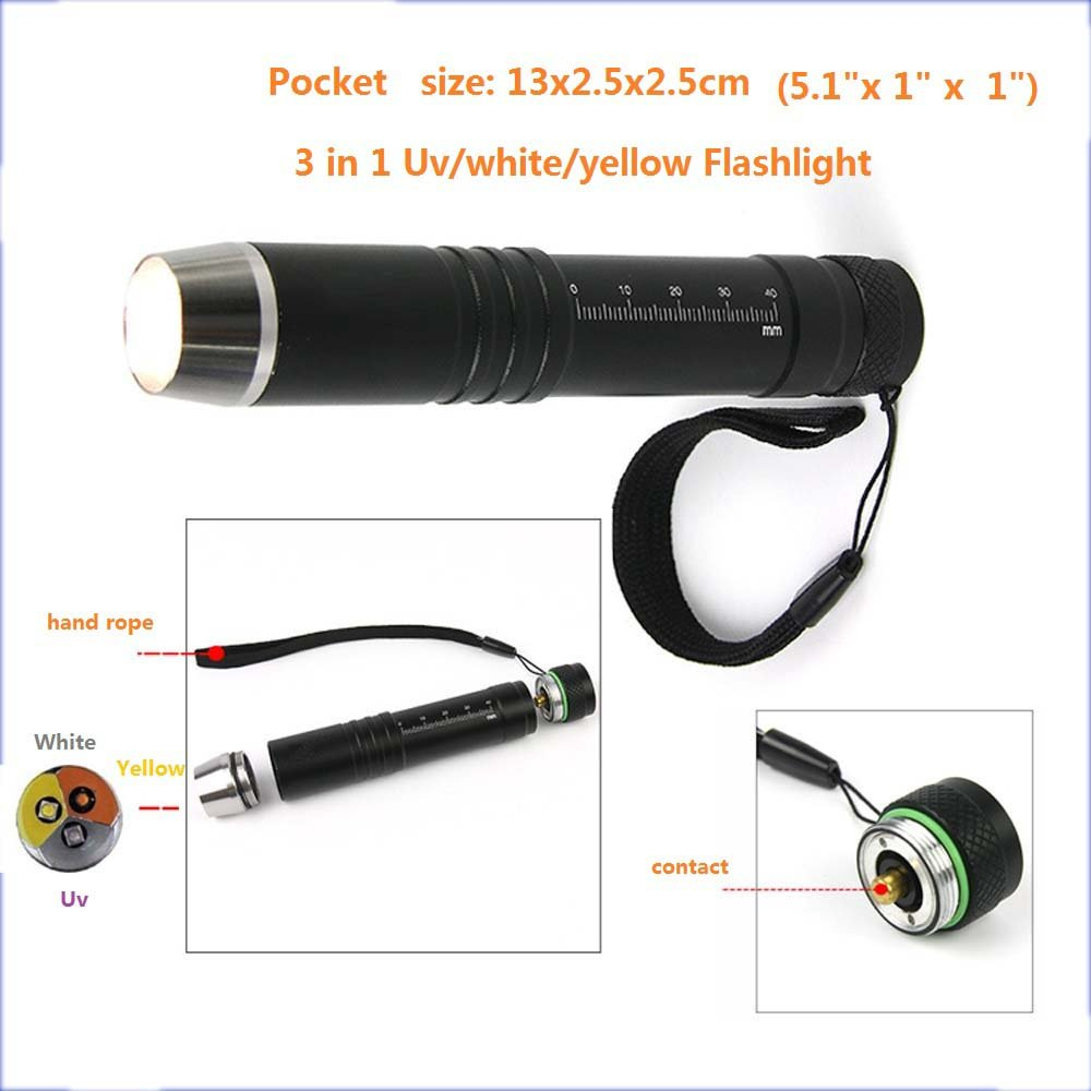 Led Uv Flashlight Blacklight 3 In 1 White/Yellow/Ultraviolet 365nm Lights Gem Jade Jewelry Inspection Flash Light Dog Urine Stains Current Detector Torch 18650 Battery
