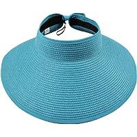 Leisial Mujer Sombrero Sol Anti-UV ala Ancha de Sol Diseño Elegante del Bowknot Casquillo De Paja Vacie Visera Casquillo…