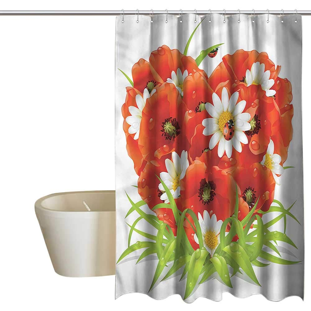 Denruny Shower Curtains for Bathroom Horses Ladybugs,Spring Flowers Heart Shape,W108 x L72,Shower Curtain for Small Shower stall