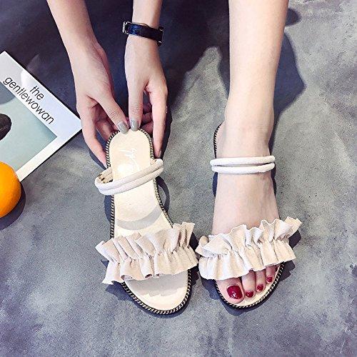 Negro Playa Nueva Negros Vacaciones de para Estudiante de Sandalias Planas de Mujer Mujer Puntas de Versión de los Sandalias Salvajes Coreana de Abiertas Zapatos Verano 40 ITTXTTI Dos vpTwqg1g
