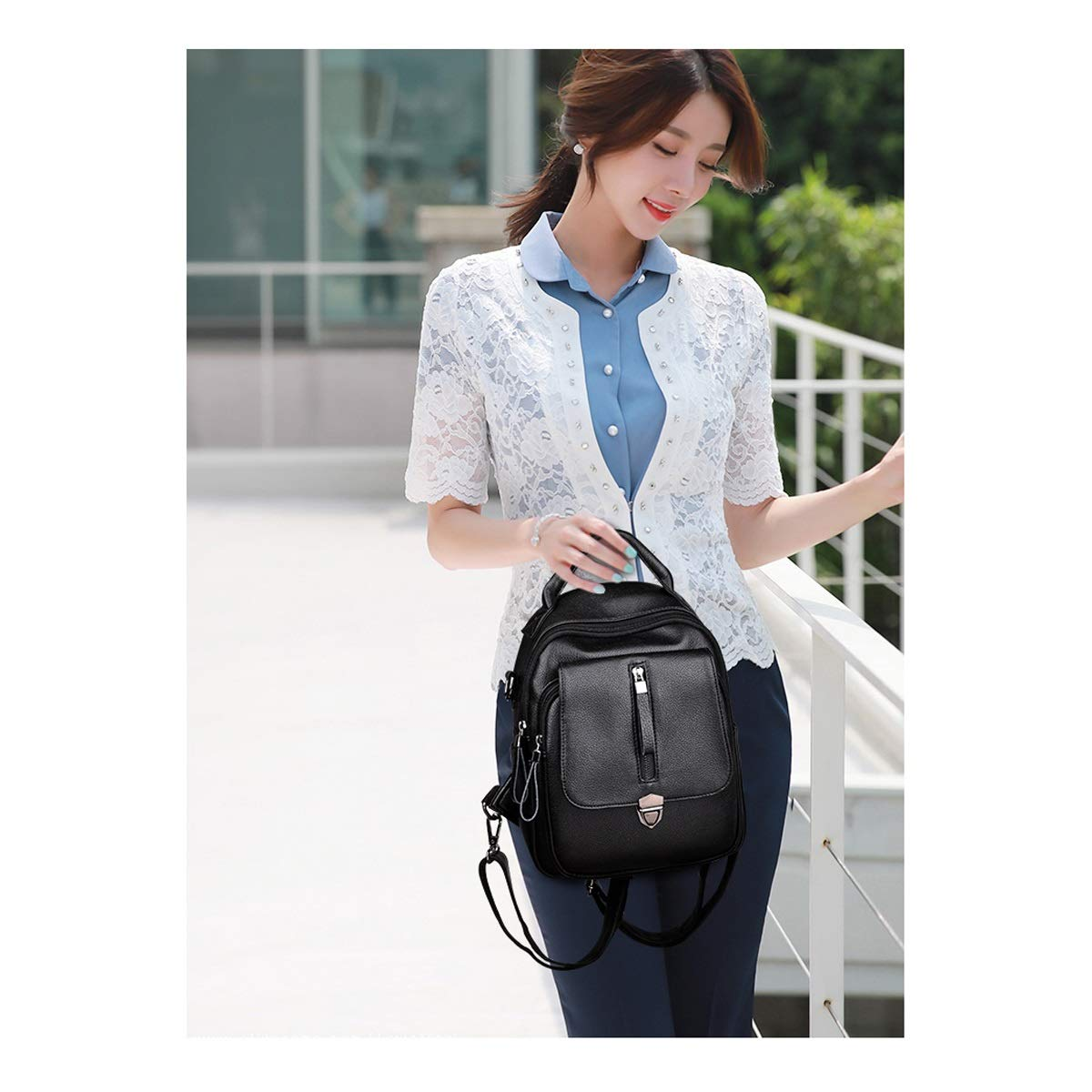 PU Leather Black//Blue//red//Brown Large Capacity and Simple. Haoyushangmao Girls Multi-Purpose Backpack for Daily Travel//Outdoor//Travel//School//Work//Fashion//Leisure