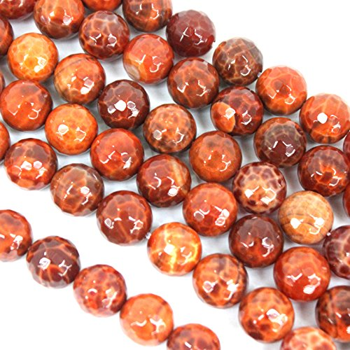 fashiontrenda Faceted Natural Red Fire Agate Round 12mm Gemstone Loose Beads