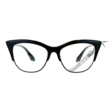9fe82de221a SA106 Womens High Point Squared Half Rim Look Cat Eye Glasses Black   Amazon.in  Clothing   Accessories