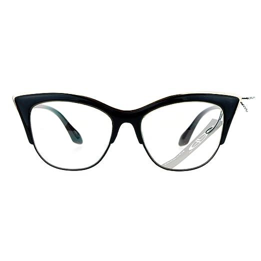 12c0d483c924 Amazon.com  SA106 Womens High Point Squared Half Rim Look Cat Eye ...