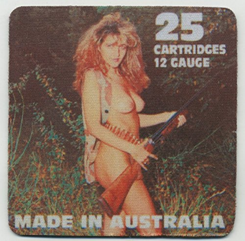 Australia Ammo Box 12 guage- Coaster Set of 4 - Topless Girl ()