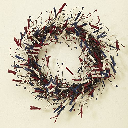 (One Holiday Way Patriotic Red, White and Blue Burlap and Berry Americana Door Wreath - 4th of July)