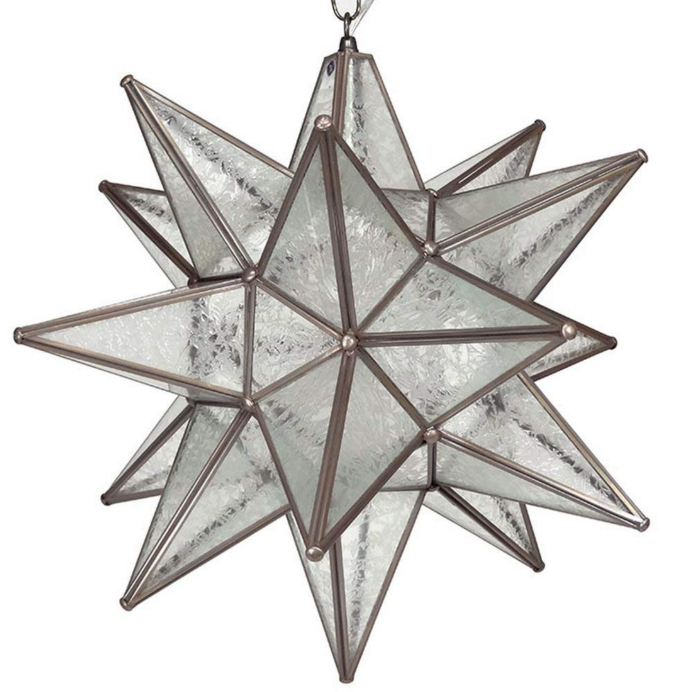 Moravian Star Pendant, Glue Chip Glass, Bronze Frame, 18 by DuDa Home Decor B011SFYU42