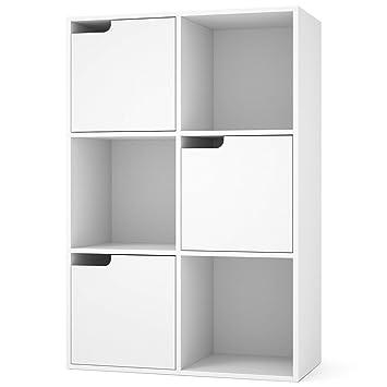Homfa Meuble De Rangement Bibliotheque Etagere En Bois 6 Cubes 3
