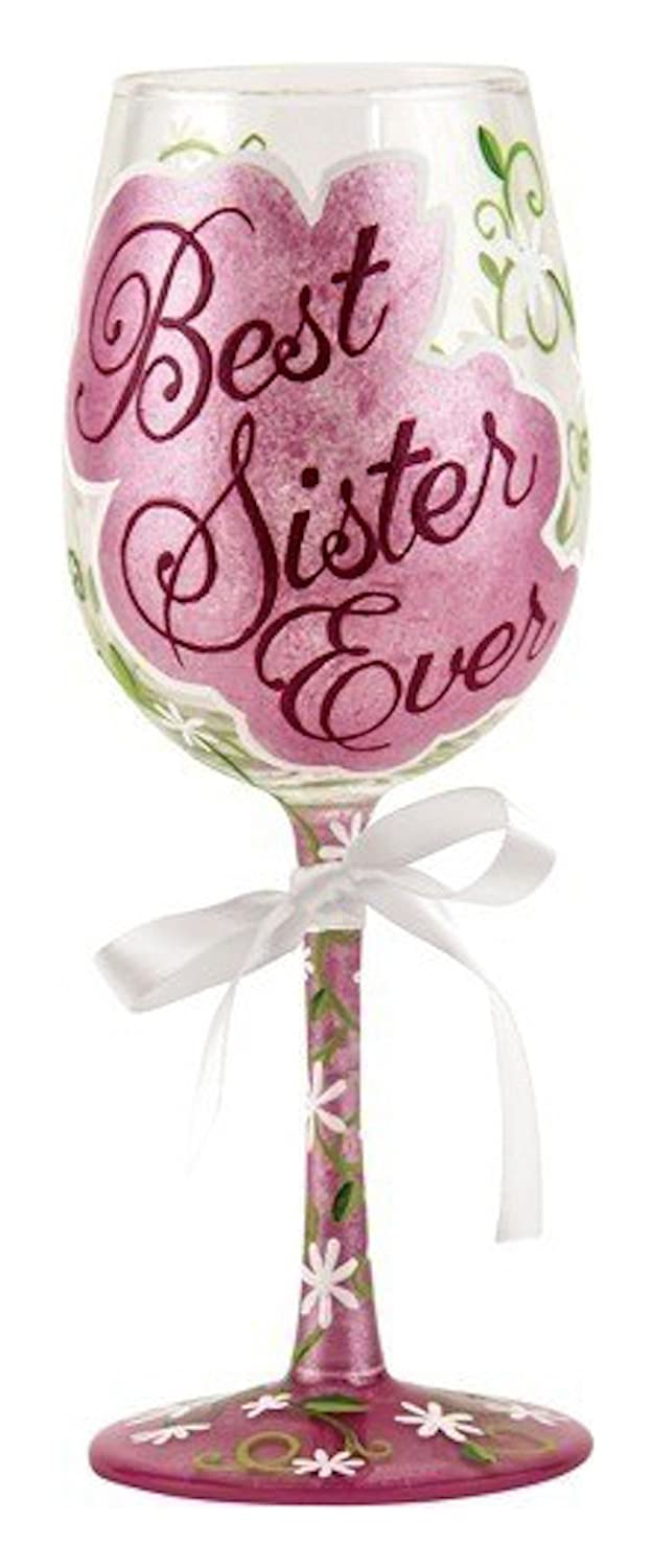 Amazon.com | Loilta Best Sister Ever Gift Painted Wine Glass Gift ...