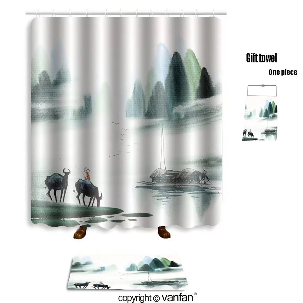 vanfan bath sets with Polyester rugs and shower curtain chinese landscape watercolor painting 4105856 shower curtains sets bathroom 66 x 72 inches&23.6 x 15.7 inches(Free 1 towel and 12 hooks)