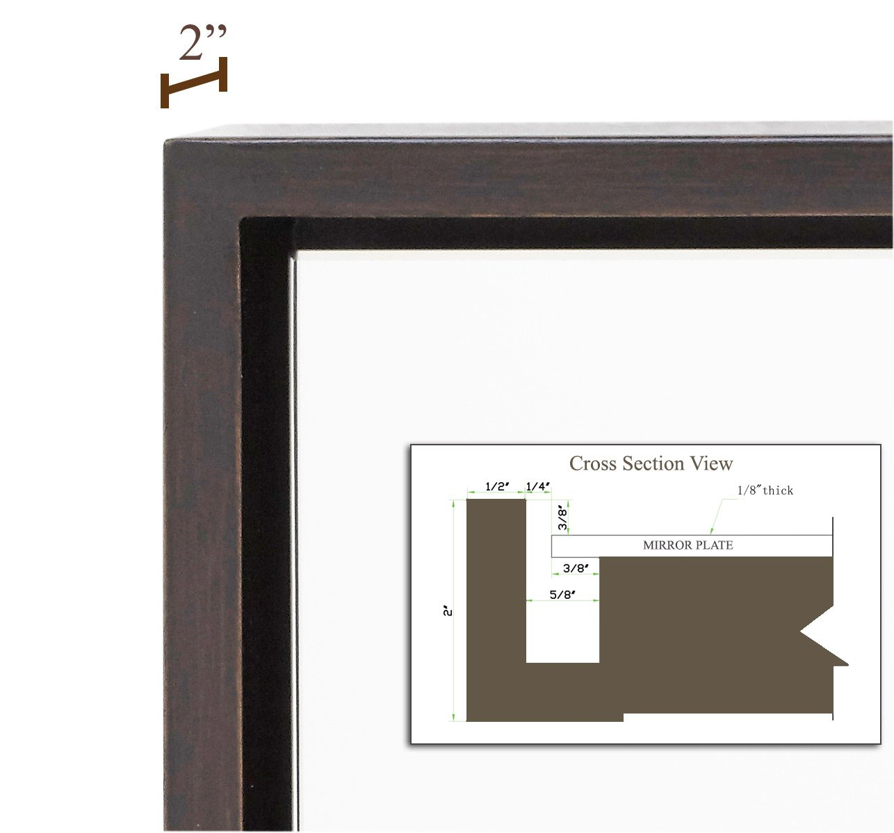 Clean Large Modern Wenge Frame Wall Mirror | Contemporary Premium ...