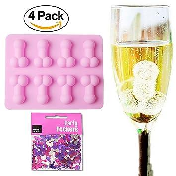 sparklelife 4 unidades Pene molde de silicona para con 15 g Confeti para despedida para Bachelorette