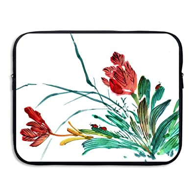 Business Briefcase Sleeve Red Flowers Watercolor Painting Laptop Sleeve Case Cover Handbag For Macbook Pro/Macbook Air/Asus/Dell/Lenovo/Hp/Samsung/Sony/Women & Men