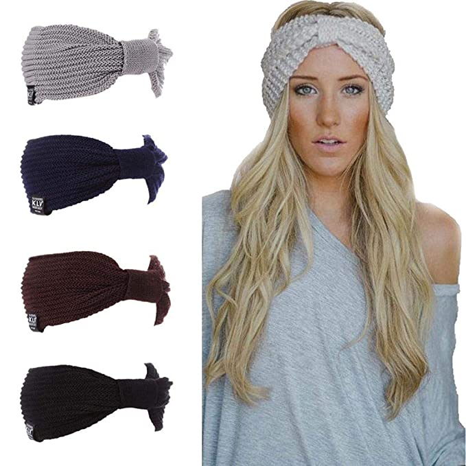 6b787ee9127 GuGio Women s Cable Knitted Turban Headband Ear Warmer Head Wrap at Amazon Women s  Clothing store