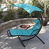 Belleze Hanging Chaise Floating Swing Chaise Lounge Chair Hammock Lounger - Navy
