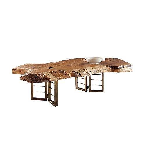 Design Couchtisch Teak Baumscheibe Holzstamm | Wohnzimmer