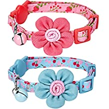 """Blueberry Pet Pack of 2 Cat Collars, Lovely Cherry and Floral Prints Adjustable Breakaway Cat Collar with Flower & Bell , Neck 9""""-13"""""""