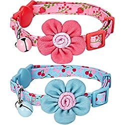 """Blueberry Pet 4 Designs Pack of 2 Cat Collars, Lovely Cherry and Floral Prints Adjustable Breakaway Cat Collar with Flower & Bell, Neck 9""""-13"""""""