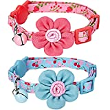 Blueberry-Pet-Pack-of-2-Valentine-Gift-Cat-Collars-Lovely-Cherry-and-Floral-Prints-Adjustable-Breakaway-Cat-Collar-with-Flower-Bell-Neck-9-13