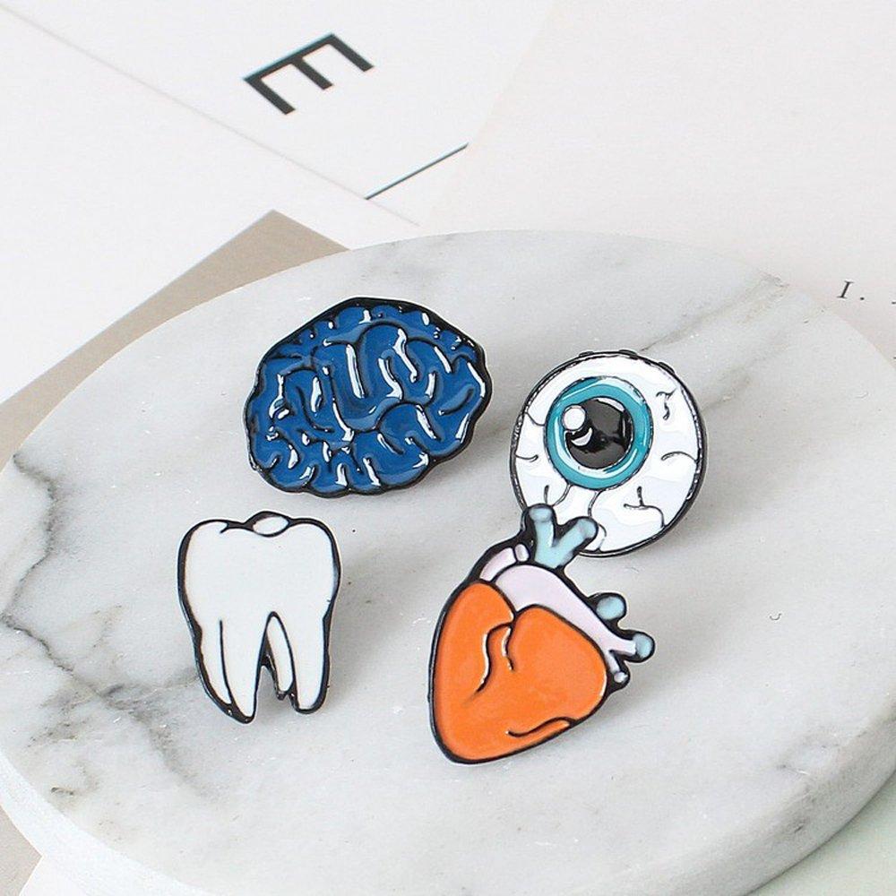 Kercisbeauty (4pz) Funny Cartoon cute Halloween Guilty Pleasure cervello Tooth Eyeballs cuore organi smalto spilla pin collare spilla badge regalo perfetto, regalo di compleanno, anniversario, Daily, accessori per feste